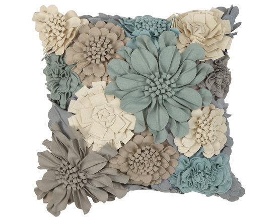 Ethan Allen - Wildflower Pillow - Flannel flowers in shades of gray, mineral, and taupe dress our fabulous floral flight of fancy. One-hundred percent cotton front and back.