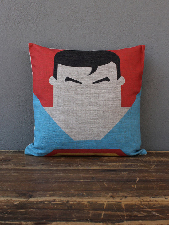 superman pillow - please e-mail us at info@redinfred.com for more information + purchasing availability