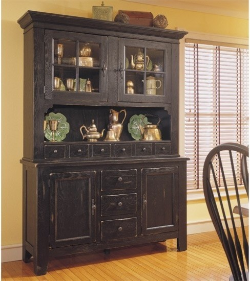 Broyhill - Attic Heirlooms China Door Hutch and Base in Antique Black - 5397-65B - Traditional ...
