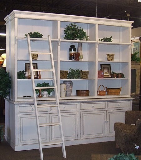 Library Cabinet Bookshelves w/Ladder eclectic-furniture