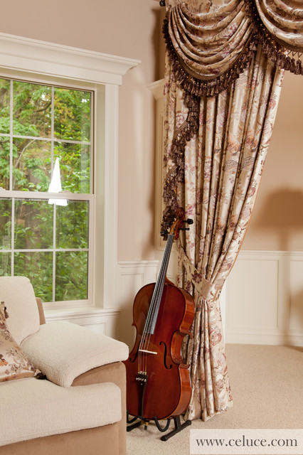 Oriental tree of life valance curtains with swags and for Living room valances and swags