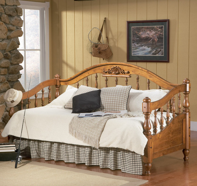 Traditional Solid Wood Daybed in Brown transitional-indoor-chaise-lounge-chairs