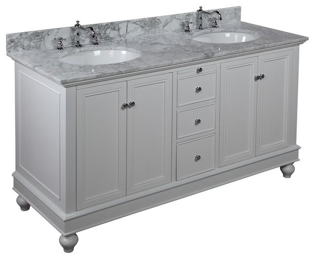 Bella 60-in Double Sink Bath Vanity (Carrara/White) - Traditional - Bathroom Vanities And Sink ...