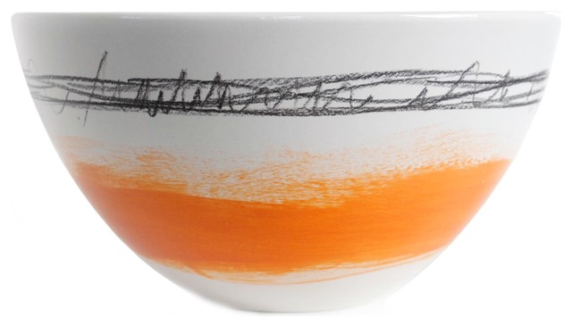 Tall Bowl, Large, Orange Band contemporary-dining-bowls