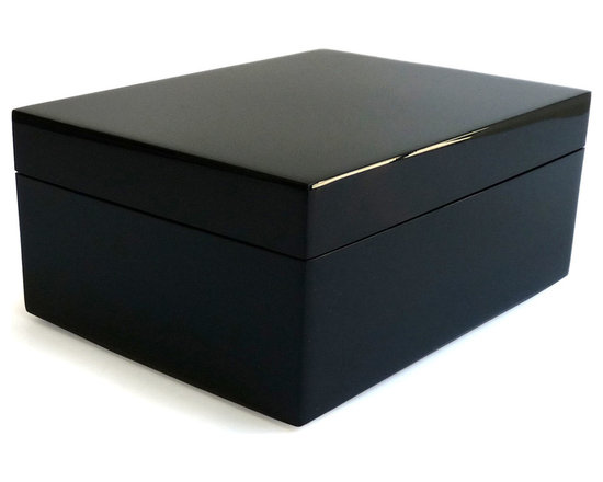 Pacific Connections lacquer medium box in black - This hand-crafted, lacquered wood, product is produced using centuries old tradition of hand pouring several layers of lacquer. Each layer is individually hand polished, taking several days, to create the unique, deep, rich finish which is impervious to heat and alcohol.