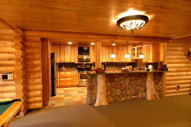 Log home theater traditional basement detroit by for Log cabin with basement