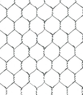 Chicken Wire Wallpaper on outdoor stone bar