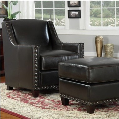 Baron Bonded Leather Chair and Ottoman Set modern-accent-chairs