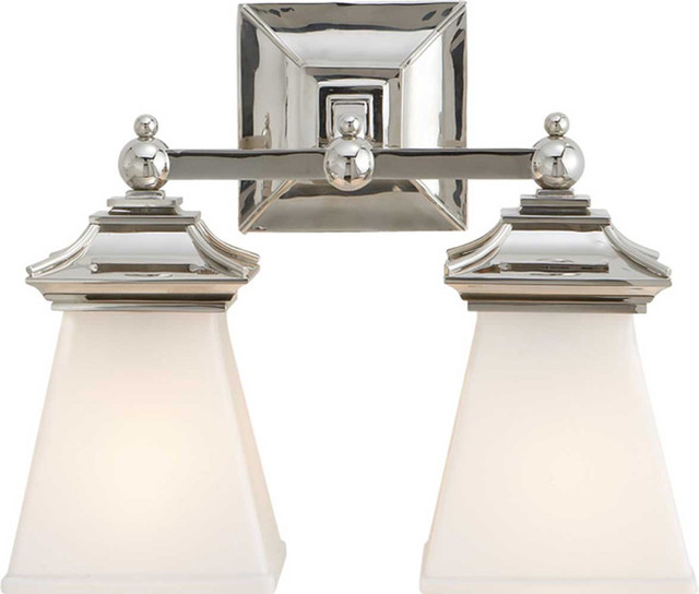 Double chinoiserie bath light traditional bathroom for Bathroom 2 light fixtures