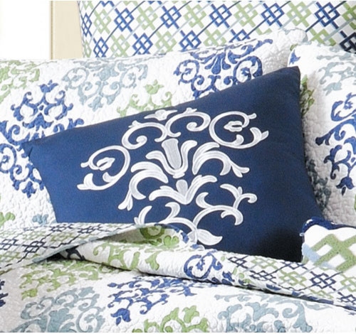 Shabby Chic Blue Damask Embroidered Decorative Throw