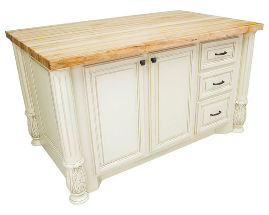 """Inviting Home - Houston Kitchen Island Cabinet (antique white) - Houston kitchen island cabinet in antique white finish; 63""""W x 37-1/2""""D x 34-1/4""""H; 1-3/4"""" hard maple butcher block top (05) sold separately Antique white cabinet for kitchen island with fluted Acanthus posts. Kitchen island features soft-close under-mount slides and soft-close European hinges. 1-3/4"""" hard maple butcher block top (05) sold separately."""