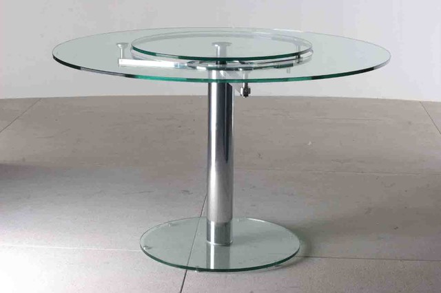 Round Glass Dining Table with Lazy Susan contemporary-dining-tables