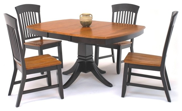 GS Furniture Suburban Home Butterfly Leaf Pedestal Dining Table - Chocolate/Nutm modern-dining-tables