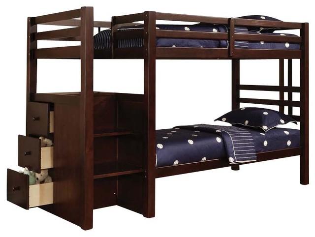 Safe Sturdy Espresso Youth Kids Twin Twin Bunk Bed Storage