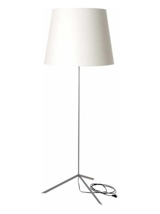 Moooi - Double Shade Floor Lamp - Double Shade floor lamp is both versatile and charismatic in form and function. Shade available in black or white pvc/viscose laminate on metal structure. One 26 watt 120 volt CF type GU24 base dimmable compact fluorescent bulb is required, but not included. Includes 8.2 foot black cord and 2 pin plug. On-off switch. General light distribution. UL listed. 23.6 inch diameter x 63 inch height.