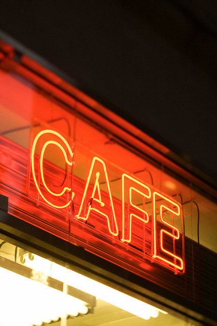 Neon Cafe Sign, New York City, Night time.  Canvas Wall Art contemporary-artwork