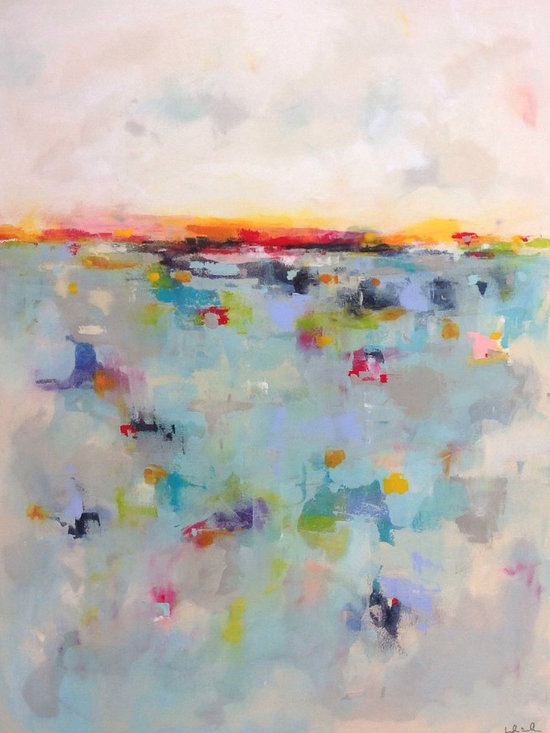 """Linda Donohue - Colorful Abstract Seascape Original Painting- Colorscape Sea 36 x 48 - This is an original acrylic painting on gallery wrapped canvas. It measures 36 x 48 x 1.5""""d. The sides are painted to match the front and it's wired and ready to hang or can be put into a frame."""
