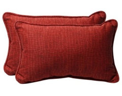 Pillow Perfect 18.5 x 11.5 Decorative Red Animal Print Toss Pillows - Set of 2 modern-outdoor-cushions-and-pillows