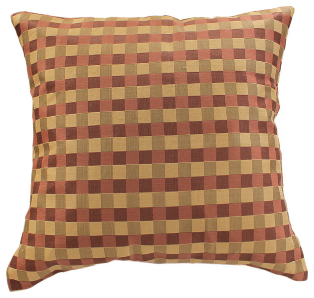 Modern Squares Pillow Cover, Set of 2, Choco Wine asian-decorative-pillows