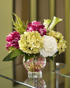 Silk Peony, Hydrangea & Rose Centerpiece modern-artificial-flowers-plants-and-trees