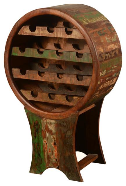 Rustic Barrel Reclaimed Wood Wine Rack rustic-wine-and-bar-cabinets