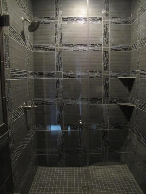 Glass tile shower contemporary tile chicago by Modern bathroom tile images