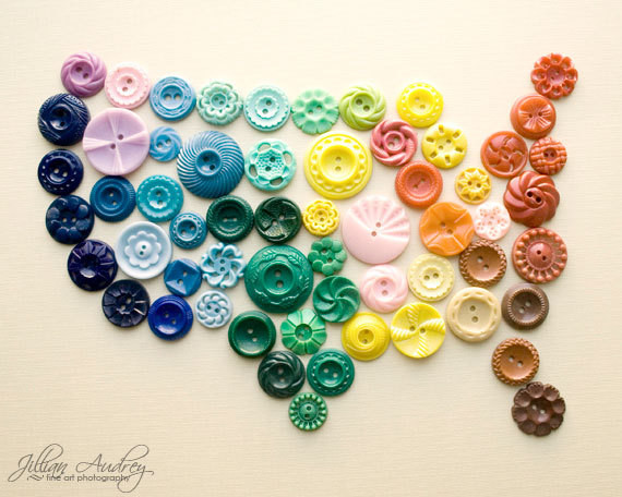 United States in Buttons by Jillian Audrey Designs eclectic-kids-wall-decor