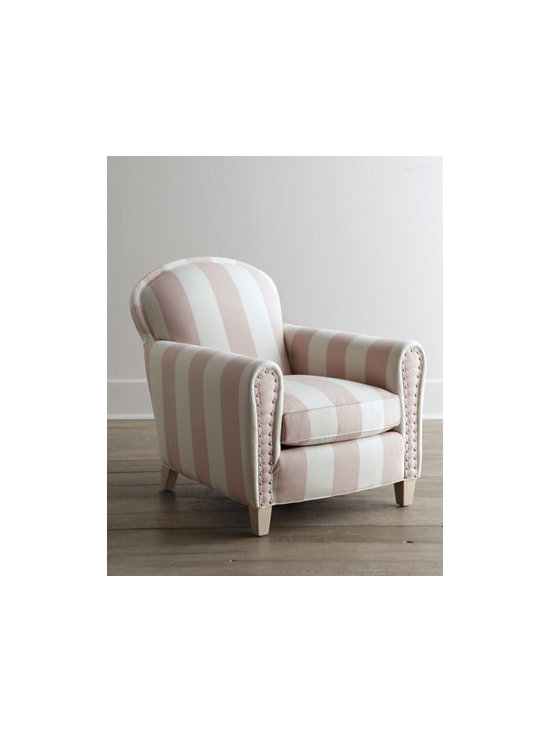 "Lee Industries - Lee Industries ""Cottage Peppermint"" Chair - A delightful confection in pink and white, this comfy chair invites you to snuggle in and stay a while. Handcrafted with a hardwood frame and cotton upholstery. Nickel nailhead trim on arm panels. Whitewash finish on legs. Eight-way, hand-tied sinuo..."