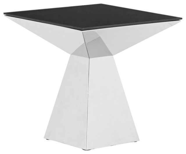 Zuo Tyrell Stainless Steel and Black Glass Coffee Table contemporary-coffee-tables