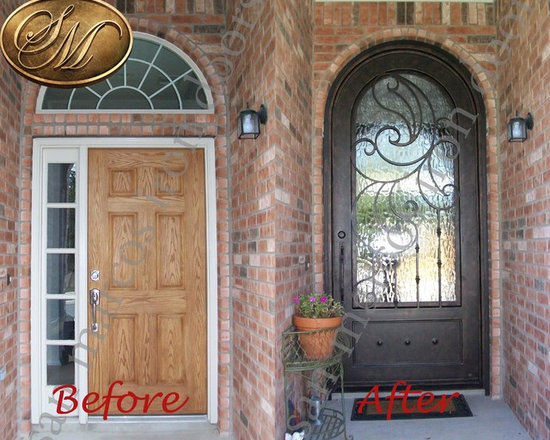 """San Marcos Iron Doors Remodel projects. - In this project the customer wanted to get a more """"grand entrance"""" effect to her existing single door with sidelight and transom. After many options on the distribution for her door and transom the customer decided to do a single door with a round top. This type of door allows more natural light to go in her home giving her the effect of a much more open space."""