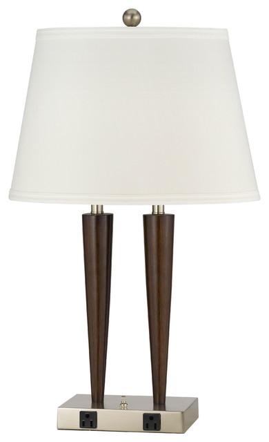Cal Lighting LA-2025Dk-2Rbw 60 Wx2, 2 Rocker Switch, 2 Outlet modern-table-lamps