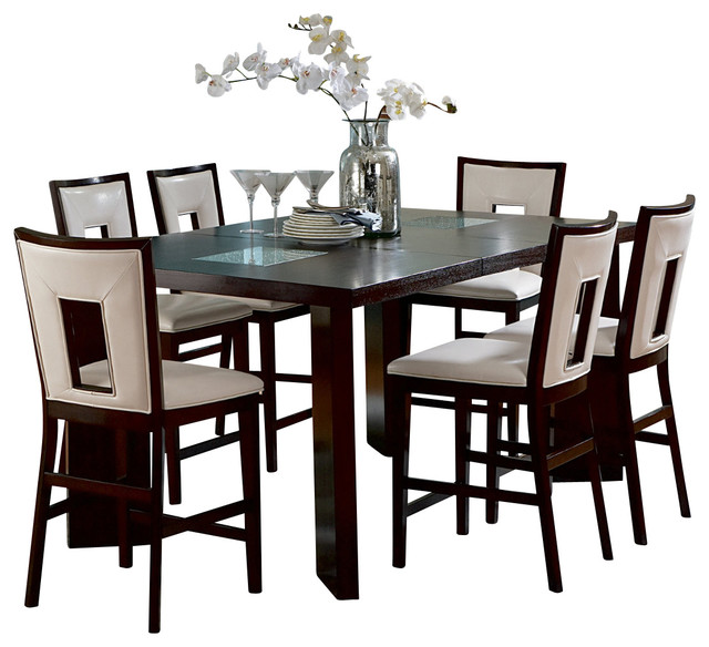 delano 7 piece counter height set with leaf traditional dining sets