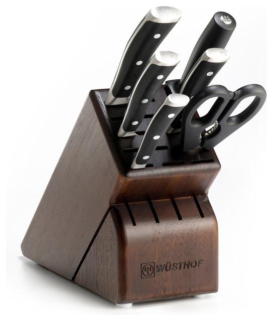Wusthof Classic Ikon Seven Piece Block Set with Walnut Block contemporary-knife-sets
