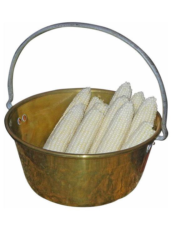 Brass Bucket - Brass Bucket, Copper Nails, Hand forged iron handle, antique