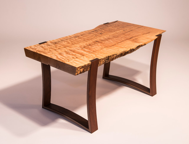Curly Maple And Ipe Live Edge Coffee Table Contemporary