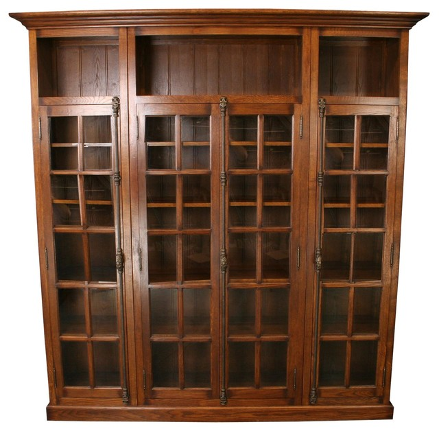 ... Oak Bookcase Four Glass Doors Consigned Antique traditional-bookcases