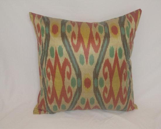 ikat pillow covers, ikat, ikat cushion, yellow ikat, blue ikat, red ikat, ikat - golden ikat pillow cover 20x20