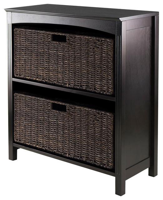 winsome wood 3 piece storage 3 tier shelf w 2 large. Black Bedroom Furniture Sets. Home Design Ideas