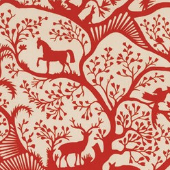 Antiquity Horse and Elk Print Fabric traditional-upholstery-fabric