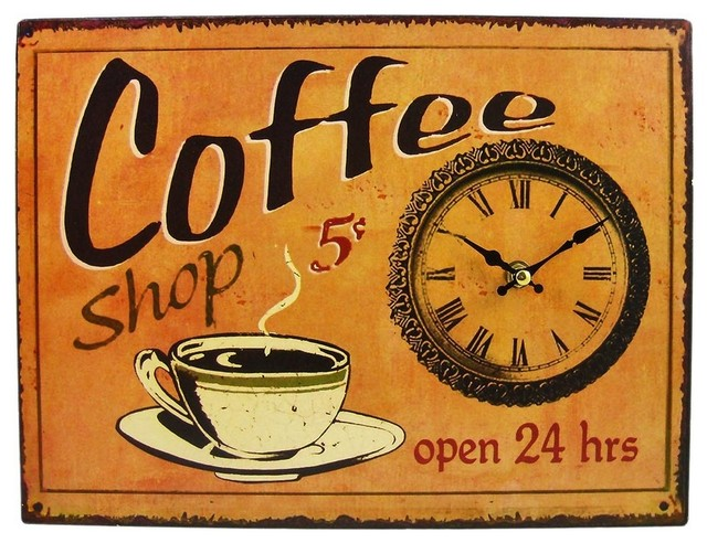 Coffee Shop Open 24 Hours 13 x 9 Sign / Wall Clock contemporary-wall-clocks