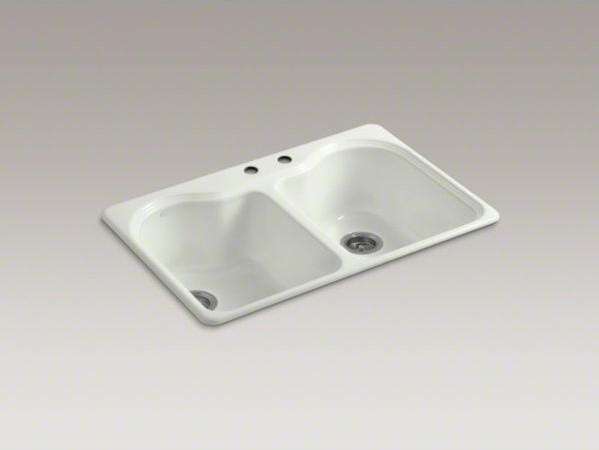 """KOHLER Hartland(R) 33"""" x 22"""" x 9-5/8"""" top-mount double-equal kitchen sink with 2 contemporary-kitchen-sinks"""