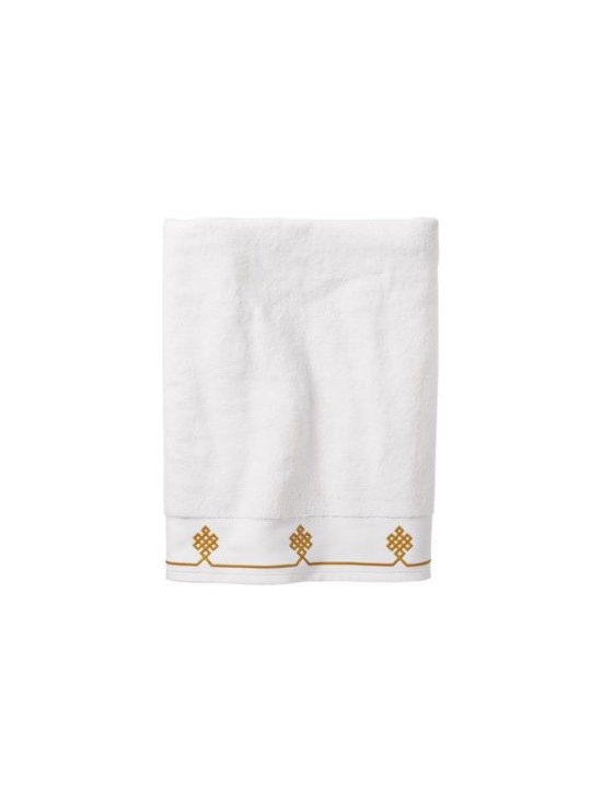 Serena & Lily - Mustard Gobi Bath Towel - We believe a bath towel should be one of life's little luxuries. Woven in Portugal from supremely soft cotton, they're lofty, absorbent and quick to dry. The embroidered motif was borrowed from our best-selling sheets, adding the perfect color pop to classic white bath and hand towels. Best of all they won't fade, fray or wear out.