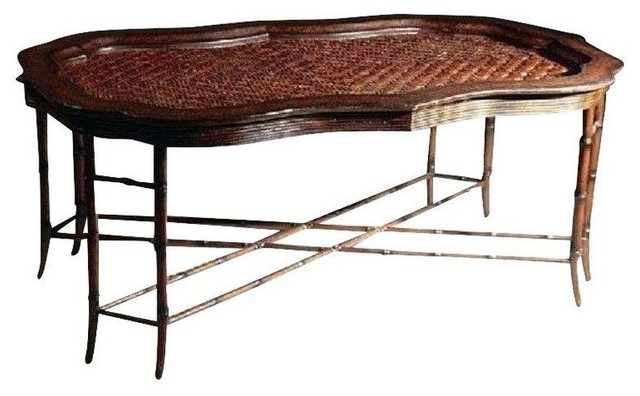 used maitland smith rattan faux bamboo coffee table. Black Bedroom Furniture Sets. Home Design Ideas