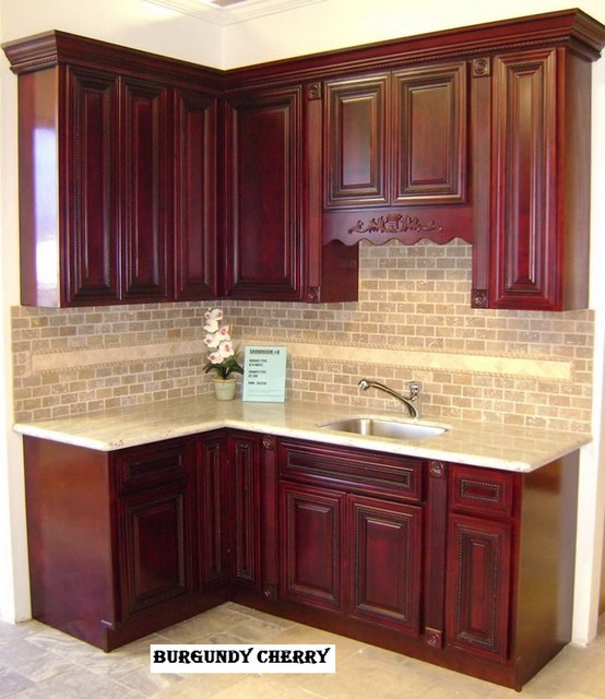 BURGUNDY CHERRY transitional kitchen cabinets