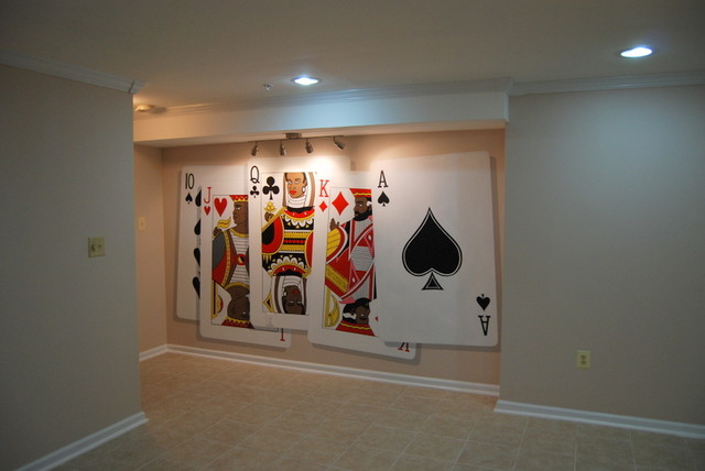 poker playing cards wall murals hand painted by tom taylor With best brand of paint for kitchen cabinets with playing card wall art