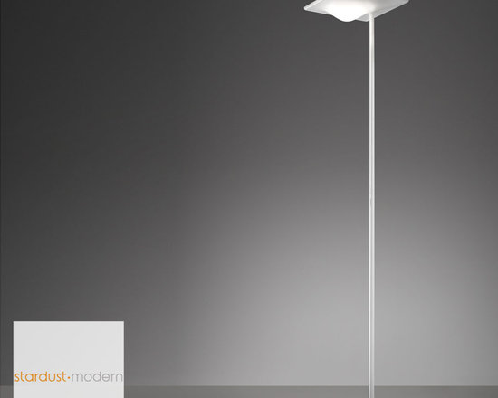 Artemide - Artemide Alcatraz Floor Lamp - Add modern style and lighting with this modern energy-efficient floor lamp with built-in dimming.  The dual control dimming switch on the stem allows for the independent operation of the two light sources.  The new Artemide Alcatraz Floor Lamp was designed by Italian designer Giuseppe Maurizio Scutellà for Artemide in Italy.  http://www.stardust.com/artemide-alcatraz.html