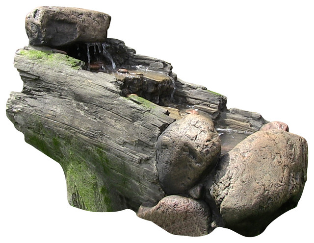 Rock And Tree Trunk Fountain w/ LED Light contemporary-outdoor-fountains-and-ponds