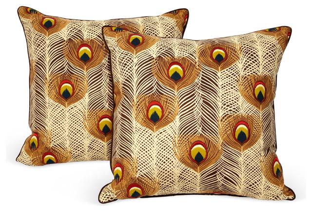 Peacock Pillows, Pair decorative-pillows