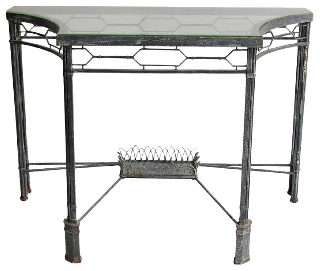 Metal glass console contemporary console tables by for Metal and glass console tables