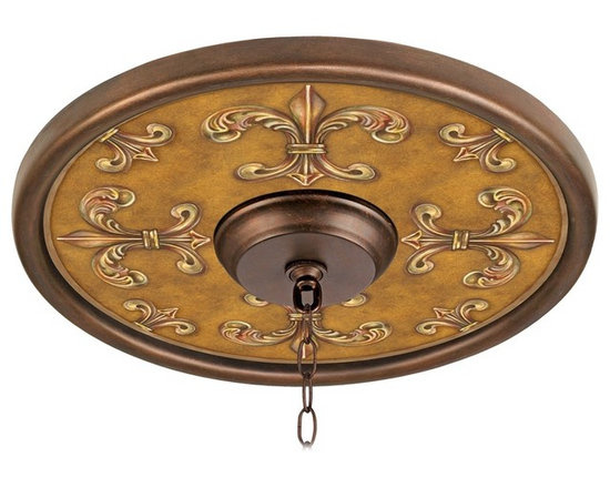 """Lamps Plus - Traditional Chias Fleur Giclee 16"""" Wide Bronze Ceiling Medallion - This giclee pattern ceiling medallion transforms your existing fixture into a work of art. Its custom printed pattern on canvas is a reproduction of an artisan hand-painting. The giclee canvas is mounted on a 16"""" wide Valencia bronze finish medallion which is lightweight and installs easily to your ceiling with multi-purpose adhesive (not included). Polypropylene construction. Canopy and chain not included. Please note this is a custom made-to-order piece; please allow 7 to 10 days for your medallion to be created. Valencia bronze finish. Chias Fleur pattern. Polypropylene construction. Giclee canvas. Lightweight and easy to install. Adhesive not included. 16"""" wide. 4"""" center opening.  Valencia bronze finish.   Chias Fleur pattern.   Polypropylene construction.   Giclee canvas.   Lightweight and easy to install.   Adhesive not included.   16"""" wide.   4"""" center opening."""